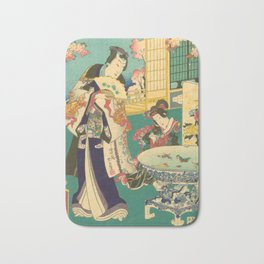 Spring Outing In A Villa Diptych #1 by Toyohara Kunichika Bath Mat