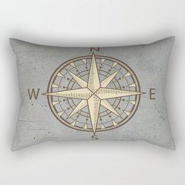 compass on cement background Rectangular Pillow