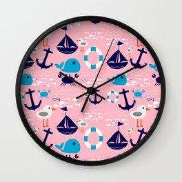 Summer boat pink Wall Clock