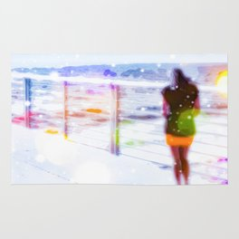 standing alone at the beach with summer bokeh light Rug
