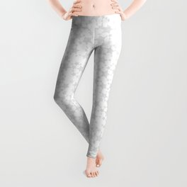 Block Print Silver-Gray and White Stars Pattern Leggings