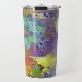 Signs Of Life - Vibrant, random paint splatter multi coloured abstract Travel Mug