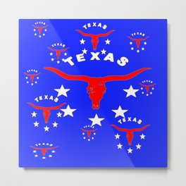 Red, White & Blue Texas Longhorn Logo Pattern Art Metal Print