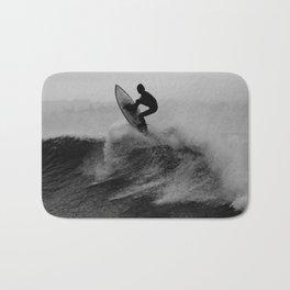Surf black white Bath Mat