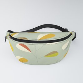Mid Century Modern Graphic Leaves Pattern 1. Vintage green Fanny Pack