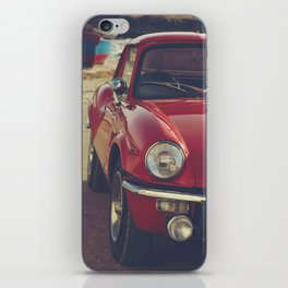 Triumph spitfire, english car by the beach in italy, old car and a boat, for man cave decor iPhone Skin