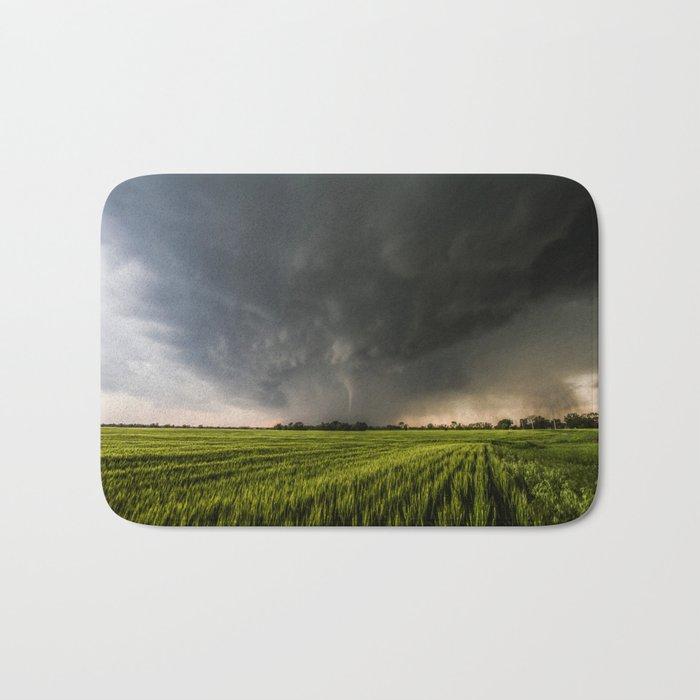 Beautiful Storm - Tornado Emerges From Rain Over Wheat Field in Kansas Bath Mat