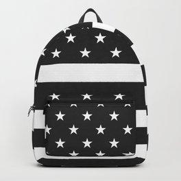 American Flag Stars and Stripes Black White Backpack