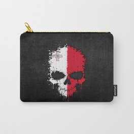 Flag of Malta on a Chaotic Splatter Skull Carry-All Pouch