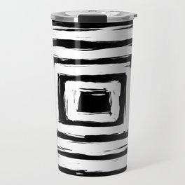 Minimal Black and White Square Rectangle Pattern Travel Mug
