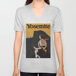 Retro Yosemite Travel Poster Unisex V-Neck