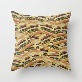 Vintage Cheeseburger Pile Print Throw Pillow