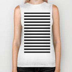 Modern Black White Stripes Monochrome Pattern Biker Tank
