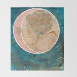 Pink Eco Print Moon Throw Blanket