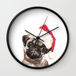 Christmas Pug Wall Clock