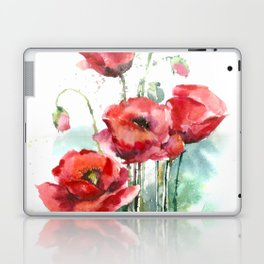 Watercolor red poppies flowers Laptop & iPad Skin
