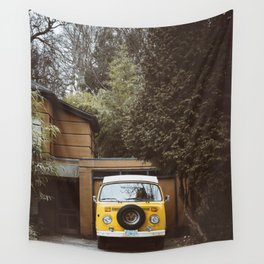 Yellow Van Ready For Road Wall Tapestry