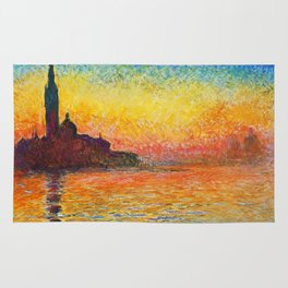 Claude Monet Sunset In Venice Rug