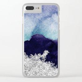 Silver foil on blue indigo paint Clear iPhone Case
