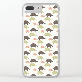 Green Brown and Pink Tortoise Silhouette Seamless Clear iPhone Case