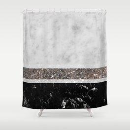 White and Black Marble Silver Glitter Stripe Glam #1 #minimal #decor #art #society6 Shower Curtain