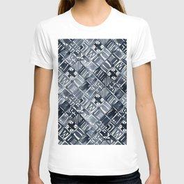 Simply Tribal Tiles in Indigo Blue on Lunar Gray T-shirt