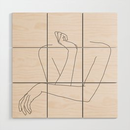 Woman's crossed arms line drawing - Anna Natural Wood Wall Art