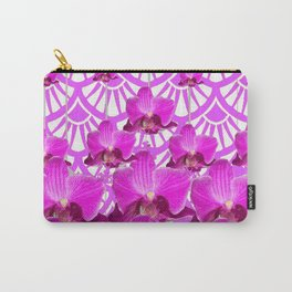 PURPLE ART DECO PATTERN ORCHIDS PATTERN ABSTRACT Carry-All Pouch