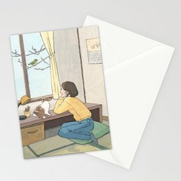 Waiting spring at Japanese‐style room Stationery Cards