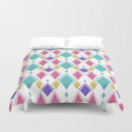 Multi-colored diamonds . Retro . Duvet Cover