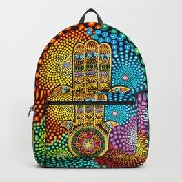 Hamsa Hand, hand of fatima, mandala, yoga art, mandala art, meditation art Backpack
