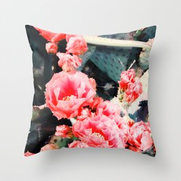 closeup blooming red cactus flower texture background Throw Pillow