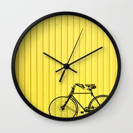 Vintage bike on yellow Wall Clock