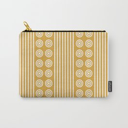 Geometric Golden Yellow & White Vertical Stripes & Circles Carry-All Pouch