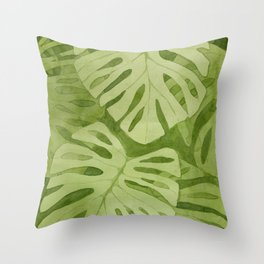 Watercolor Monstera Leaves Throw Pillow