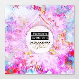 Watercolor Pastel Boho Dynamite and Glitter Canvas Print