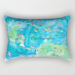 Caribbean Cruise Travel Poster Map Antilles West Indies Cuba Florida Rectangular Pillow