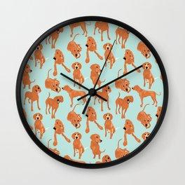 Redbone  Coonhound Pattern Wall Clock