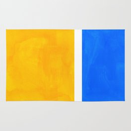 Primary Yellow Cerulean Blue Mid Century Modern Abstract Minimalist Rothko Color Field Squares Rug