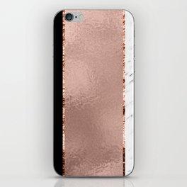 Rose metallic striping - marble and onyx iPhone Skin