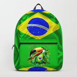 Toco Toucan with Brazil Flag Backpack