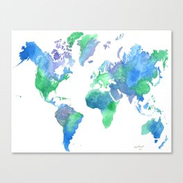 Watercolor Worldmap Canvas Print