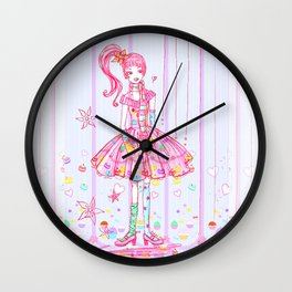 Pink Cupcake Girl Wall Clock