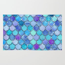 Colorful Blues Mermaid Scales Rug