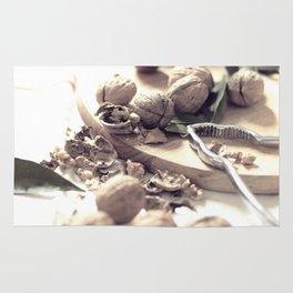 Food porn, still life, kitchen wall art, living room, home decor, nuts Rug