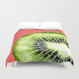 Kiwi on Coral Duvet Cover
