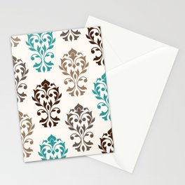Heart Damask Art I Browns Teal Cream Stationery Cards