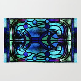 Blue and Aqua Stained Glass Victorian Design Rug