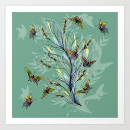 Mint Butterflies Art Print