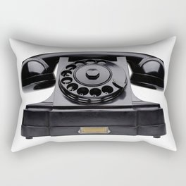 Old black telephone, middle of 20th century, aged and scuffed Rectangular Pillow